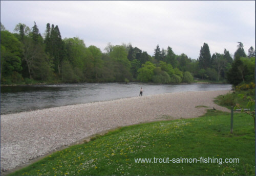 Salmon fishing on the Little Isle pool, Inverness