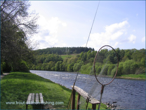 Salmon fishing at the Sandy Hole, River Spey