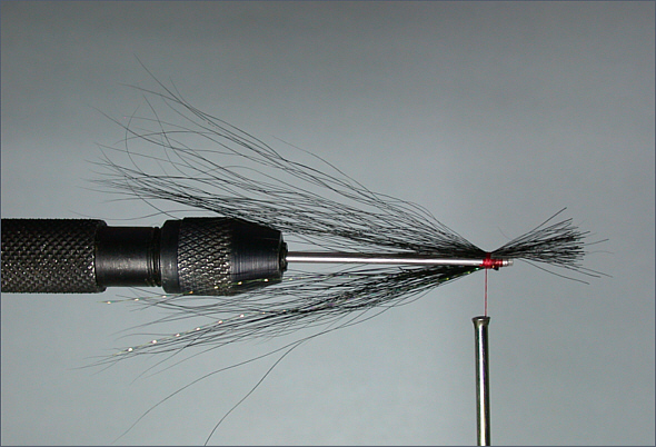 Black and Silver sea trout tube fly - step 4