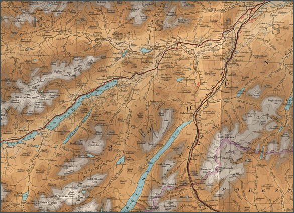 Fishing map of the source and  upper river Spey