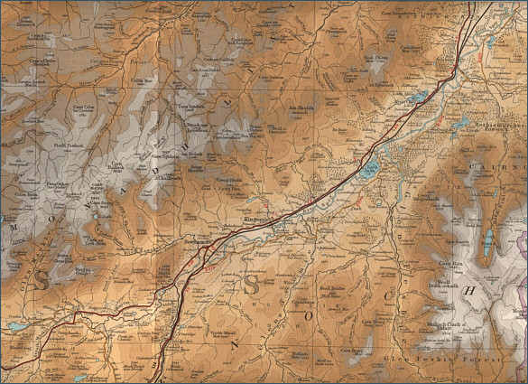 Fishing map of the upper river Spey