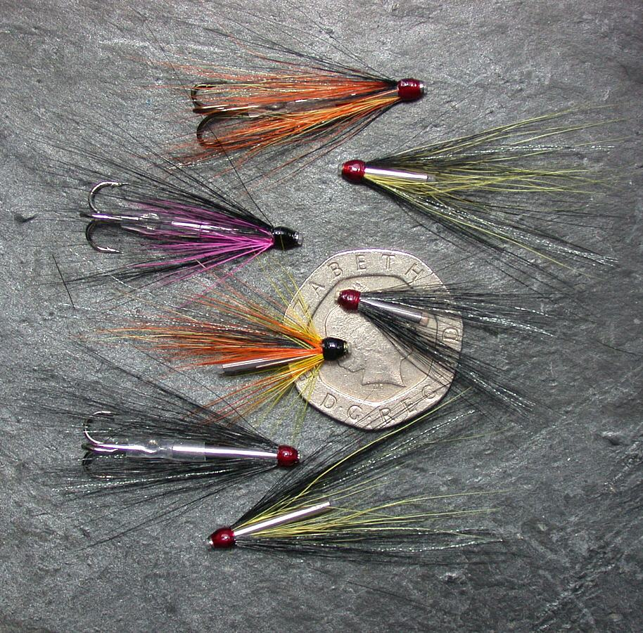 3 x black and magenta tube fly for sea trout or salmon