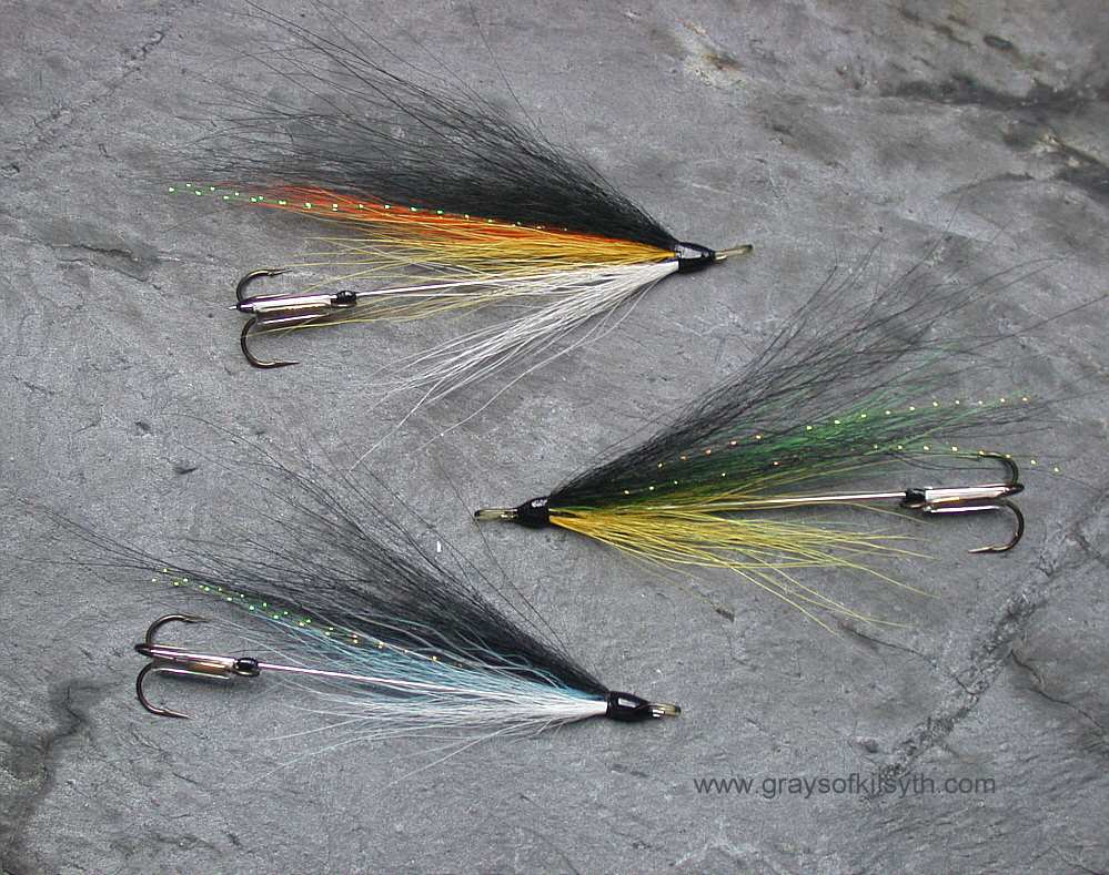 3 x black red and silver needle tube fly for salmon or sea trout