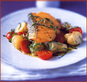 Seared Salmon with tomato and potatoes