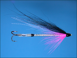 The Snake Tube Fly - pink, blue and black